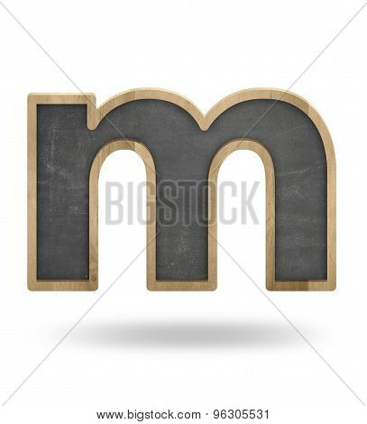 Black blank letter m shape blackboard