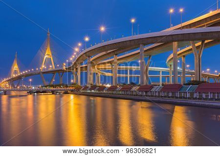Twilight of Bangkok Suspension bridge