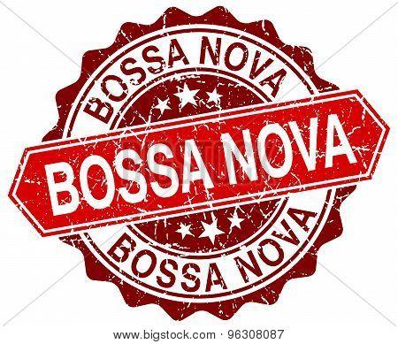 Bossa Nova Red Round Grunge Stamp On White