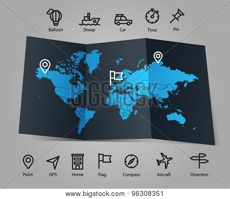 World map and different transportation icons. Infographic template