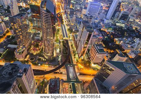 Topview of Bangkok office building business downtown