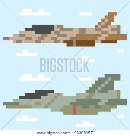 illustration pixel art jet plane