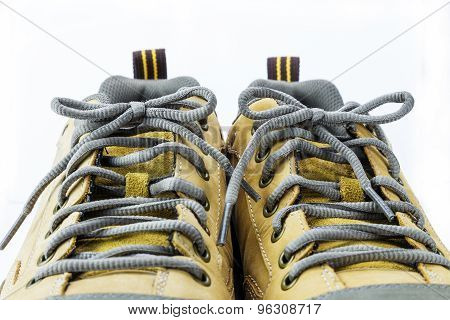 Close Up Shoelace Of Engineering Boot