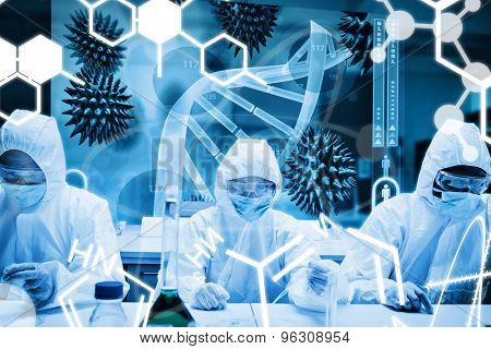 Science graphic against scientists working in protective suite with futuristic interface showing dna