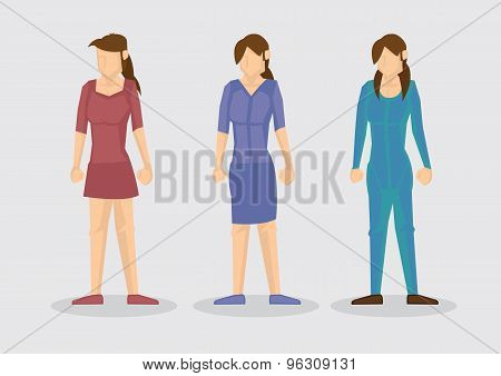 Female Fashion Outfit Cartoon Vector Illustration