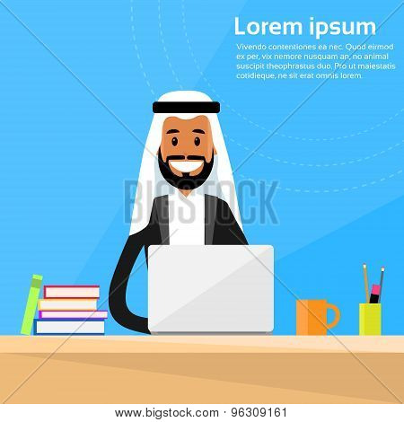 Arabic Businessman Sitting Office Desk Working Laptop Computer