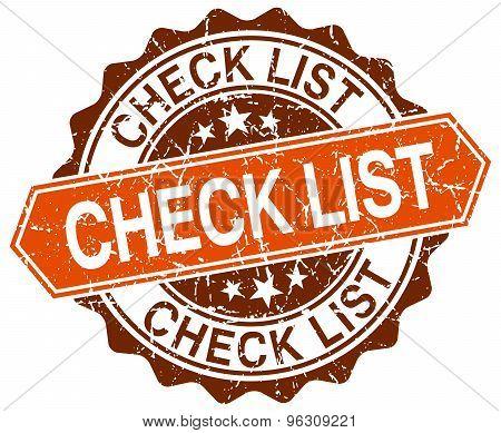 Check List Orange Round Grunge Stamp On White