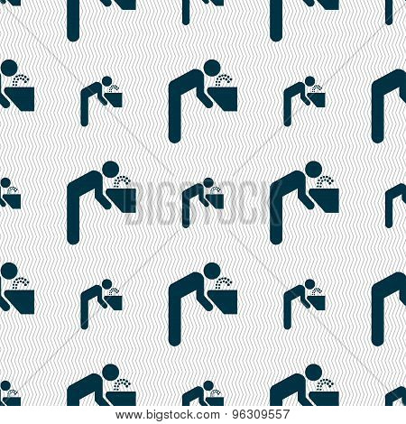 Drinking Fountain Icon Sign. Seamless Pattern With Geometric Texture. Vector