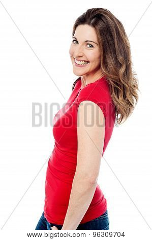 Sideways Of Cheerful Woman