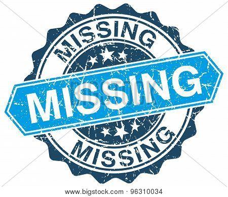 Missing Blue Round Grunge Stamp On White