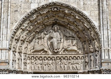 Central Tympanum Of The Royal Portall At Cathedral Our Lady Of Chartres, France