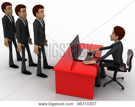 3D Man Taking Interview To Many Person Which Are In Queue Concept