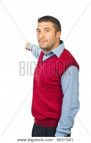 Serious Man Pointing To Copy Space