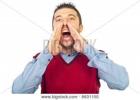 Happy Man Shouting
