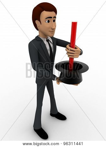 3D Man Doing Magic With Hat Concept