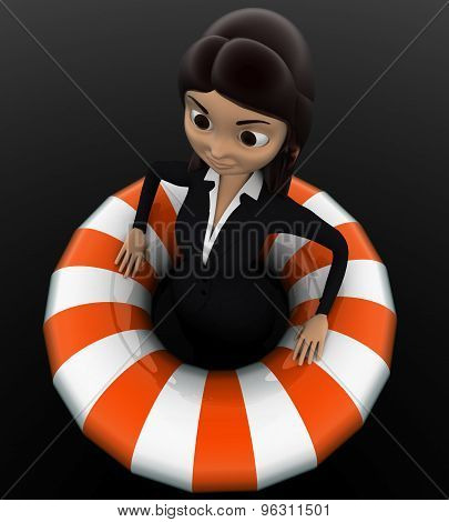 3D Woman Float With Life Saver Floating Tube Concept