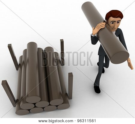 3D Man Carry Big Wooden Trunk On Shoulder Concept