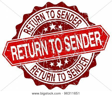 Return To Sender Red Round Grunge Stamp On White