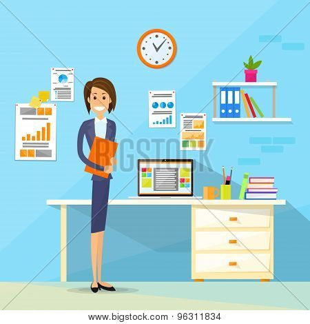 Business Woman Desk Office Working Place Flat Vector