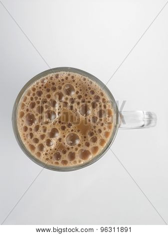 Top view Tea with milk or Teh Tarik in Malaysia