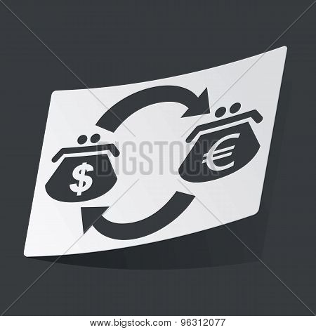 Monochrome dollar euro exchange sticker