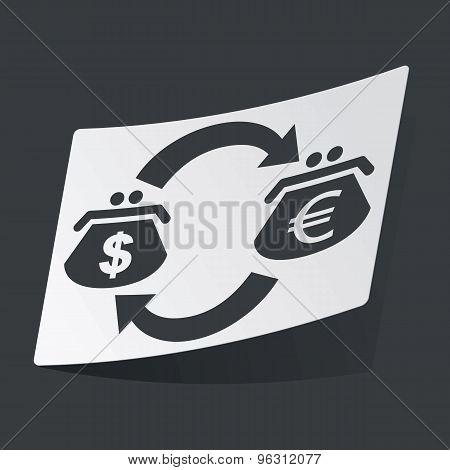 Monochrome dollar euro exchange sticker