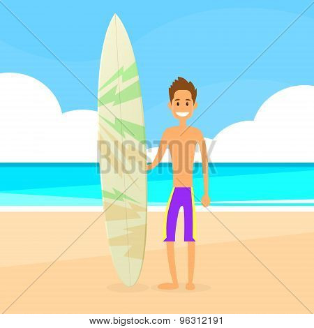 Surfer Man with Surfing Board Summer Holiday