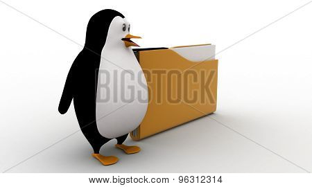 3D Penguin With Big File Folder Concept
