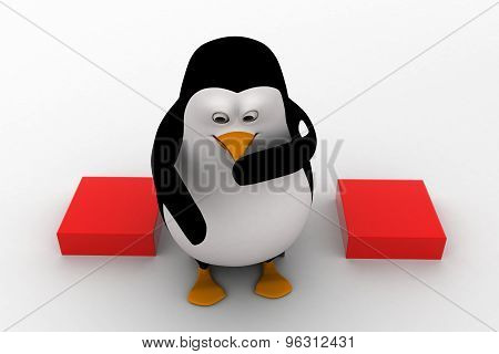 3D Penguin Sitting On Cube And Thinking Concept
