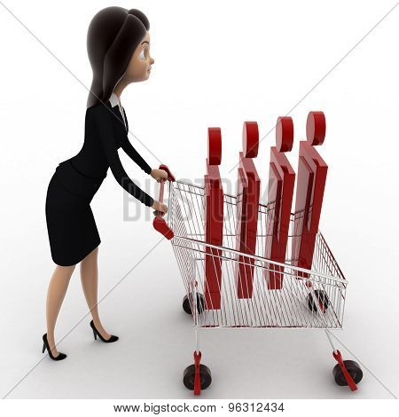 3D Woman Going For Shopping With Cart And Puppet In It Concept