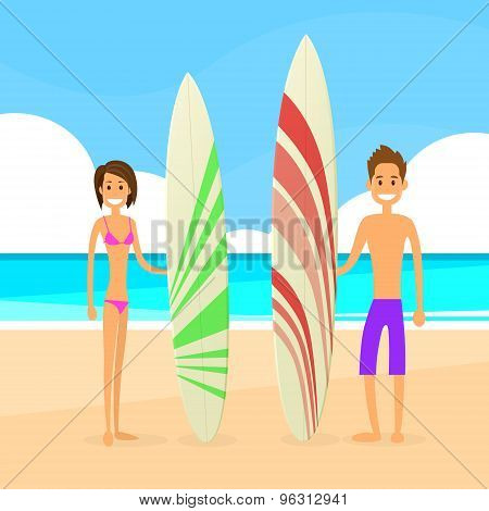 Surfer Couple Man and Woman with Surfing Board