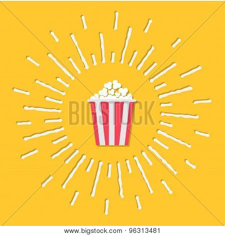 Popcorn. Cinema Icon In Flat Design Style. Shining Effect Dash Line