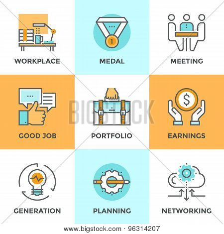 Business Elements Line Icons Set