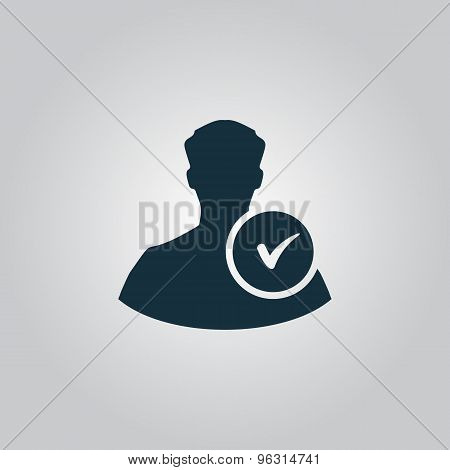 User profile sign web icon with check mark glyph