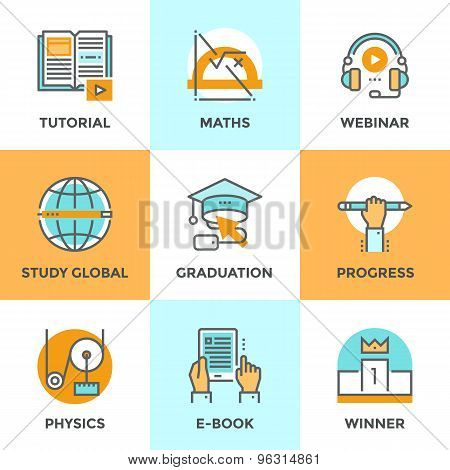 Education And Study Line Icons Set