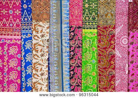 Assortment Of Colorful Sarongs For Sale, Island Bali, Ubud, Indonesia