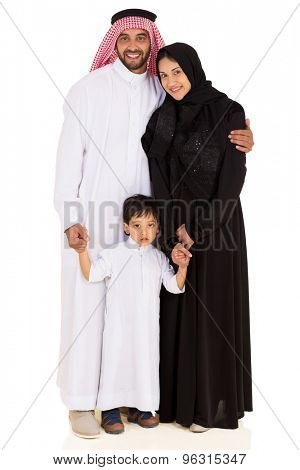 portrait of beautiful young muslim family isolated on white