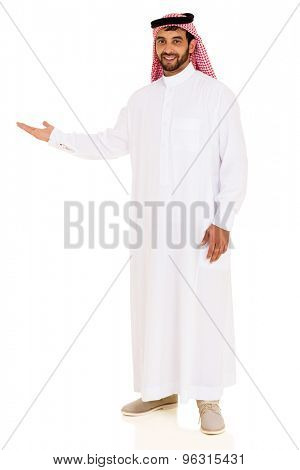 portrait of arabian man showing empty space on white background