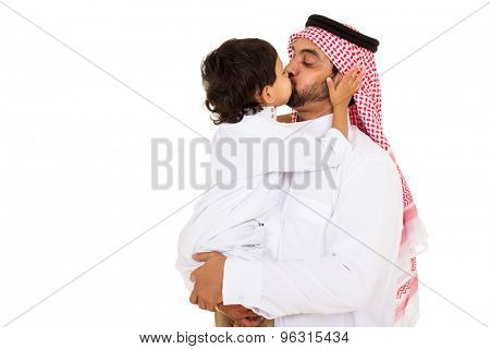 lovely arabian boy kissing his father isolated on white