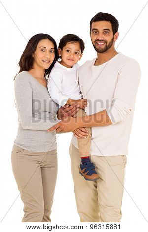 happy indian man and family isolated on white background