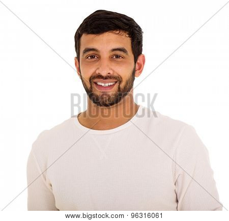 close up portrait of happy young indian man