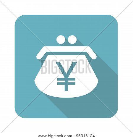 Square yen purse icon