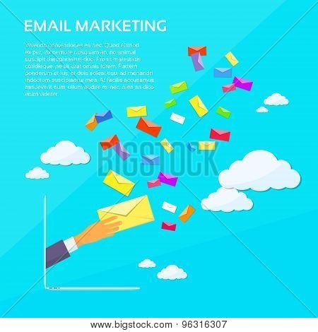 Digital Marketing Email Laptop Businessman Hand Hold Envelope