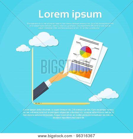 Businessman Hand Laptop Screen Financial Paper Document
