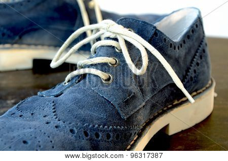 Blue Suede Man Shoes