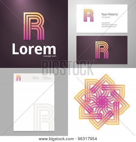 Design Icon P Element With Business Card And Paper Template