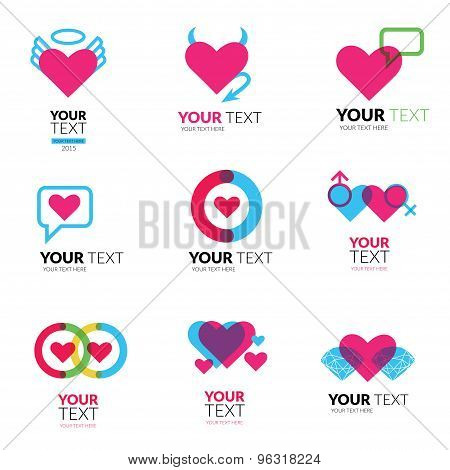 Vector Icon Set With Hearts