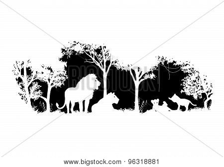 animal of wildlife (Lion)  shadow vector design