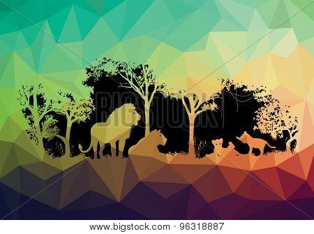 animal of wildlife (Lion) low poly shadow vector design