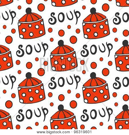 Seamless Pattern With Retro Pots. Vector Background For Kitchen Red Circle Ornament